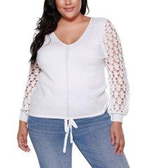 belldini black label plus size long crochet sleeve v-neck pullover