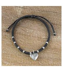silver charm bracelet, 'ancient heart in black' (thailand)