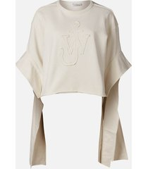 jw anderson women's tab logo sweatshirt - white - s