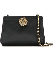 chanel pre-owned 2000-2002 jewelled clutch - black