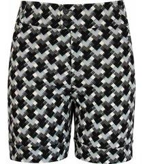 shorts pau a pique linho quadriculado preto