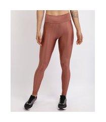 calça legging feminina esportiva ace cintura alta texturizada bronze