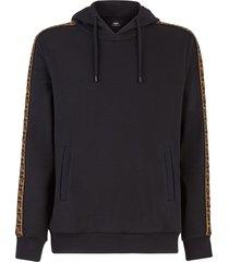 men's fendi taped ff motif hooded sweatshirt