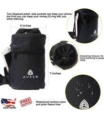 water repellent outdoor rock climbing chalk bag with adjustable belt & carabiner