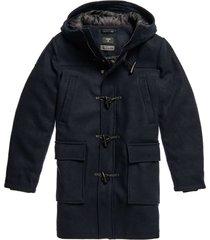 superdry wool duffle coat dark navy
