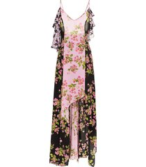 rose print silk maxi dress multicolor