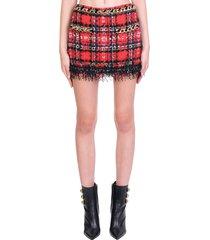 balmain skirt in red wool