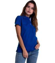 camiseta polo hamer, básica de mujer, casual, para uso diario, clasica color azul rey