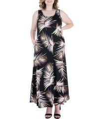 plus size leaf print sleeveless pocket maxi dress