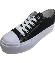 zapatilla plataforma negro todopiel