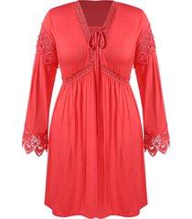 plus size crochet plunging empire waist dress