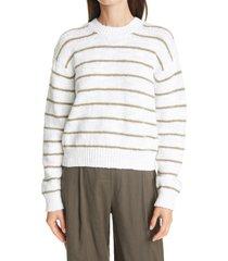 women's vince stripe crewneck sweater, size x-small - white