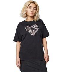 converse camiseta heart reverse print black black