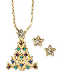 "charter club gold-tone crystal christmas tree pendant necklace & stud earrings boxed set, 17"" + 2"" extender, created for macy's"