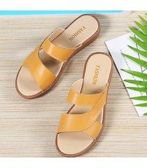 pantofole casual piatte con punta aperta di colore puro