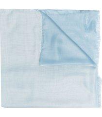 giorgio armani modal-blend fringed-edge scarf - blue