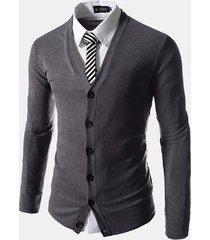 uomo cardigan a maglia slim fit di stile business alla moda