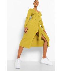 geribbelde gebreide midi jurk met ceintuur, olive