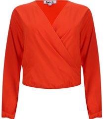 blusa manga larga cruzada color naranja, talla 10
