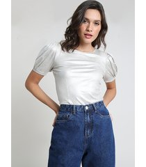 blusa feminina mindset metalizada manga bufante decote redondo bege claro