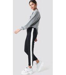 mango soul striped trousers - black