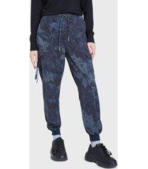 pantalón desigual azul - calce holgado