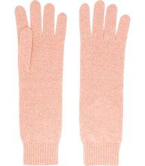 jil sander cashmere knitted gloves - pink