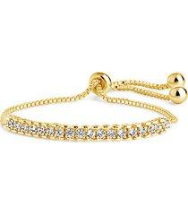goldplated & cubic zirconia bolo bracelet