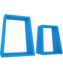 jogo nicho angular em madeira azul escuro