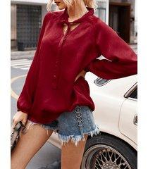 blusa de manga larga con cuello en v y diseño anudado