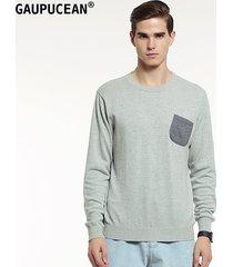 suéteres manga larga gaupucean para hombre-gris