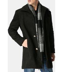 trench da uomo d'affari medio-lungo di lana invernale. giacca monopetto per uomo