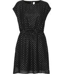 metallic clip-dot skater dress kort klänning svart gap