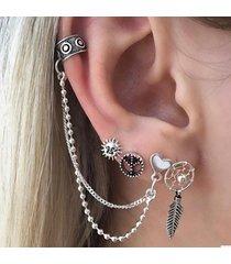 punk alloy peace symbol orecchini a forma di cuore con foglia di sole 4 pezzi / set orecchini per donna