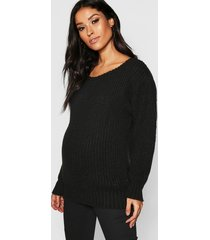 maternity slash neck knitted sweater, black