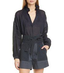 women's sea lucy ruffle neck pintuck cotton blouse, size 2 - blue