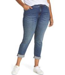 plus size women's kut from the kloth catherine cuffed boyfriend jeans, size 18w - blue