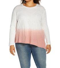 plus size women's caslon dip dye asymmetrical top, size 2x - purple