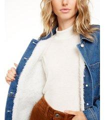 oat patch-pocket sherpa lining jean jacket