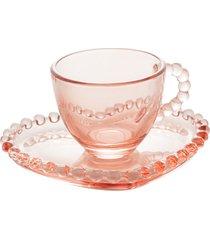 conjunto 4 xícaras café cristal com pires coração pearl rosa 85ml