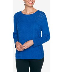 alfred dunner women's plus size classics mixed stitch patchwork sweater