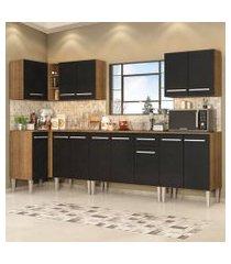 cozinha completa de canto madesa emilly rock com armário, balcão e adega rustic/preto rustic