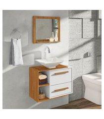 conjunto para banheiro barcelona móveis bechara 1 porta 1 gaveta cinamomo/branco