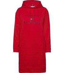inj tiara hooded dress ls knälång klänning röd tommy hilfiger