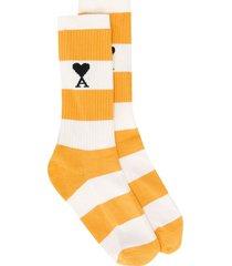 ami paris ami de coeur striped socks - yellow