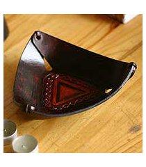 leather catchall, 'pyramid chains' (peru)