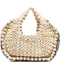 aranaz woven-detail beaded tote bag - neutrals