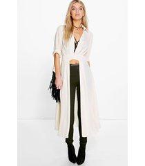 maxi blouse met split en laag uitgesneden decolleté, crème
