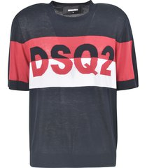 dsquared2 short sleeve ribbed logo pullover