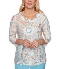 alfred dunner petite chesapeake bay embellished textured top